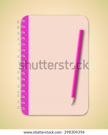 Pink Edge Notebook Vector - stock vector