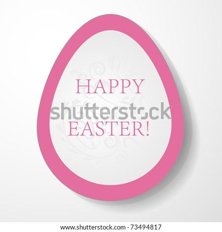 Pink egg label. Easter illustration. - stock vector
