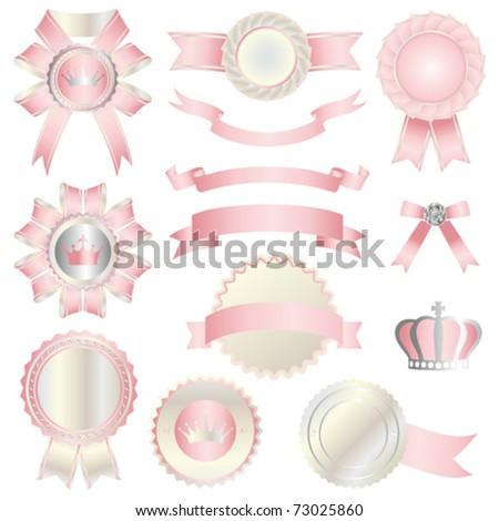 pink emblem set - stock vector