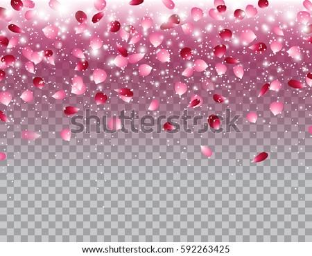 Pink Falling Flowers Petals Glowing Lights Stock Vector