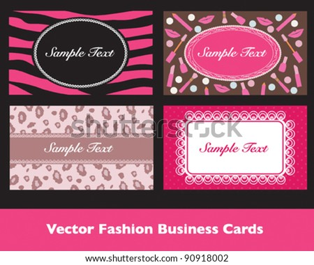 Pink Fashion Business Card Sets - stock vector