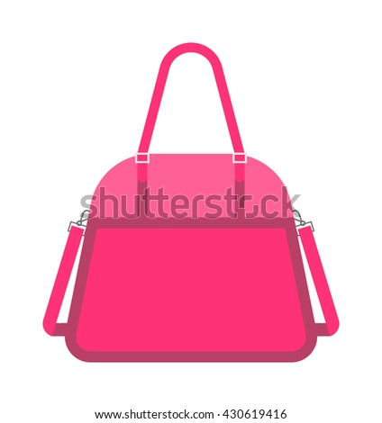 Pink fashion woman handbag vector. Glamour accessory handbag pink clutch and elegance modern pink clutch. Women pink clutch style. Luxury pink clutch women leather fashion. - stock vector
