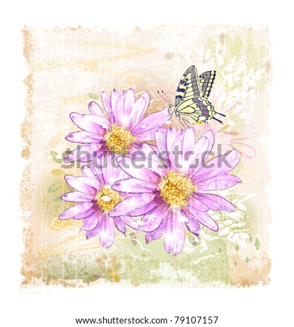pink field flowers and butterfly - stock vector