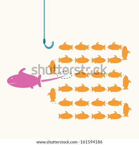 pink fish taking a risky different way,idea concept. - stock vector