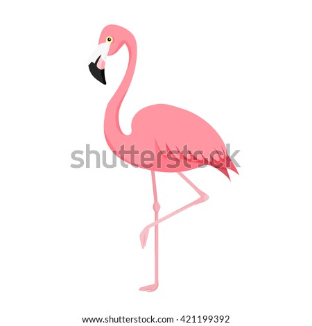 Pink flamingo vector illustration isolated on white background. - stock vector