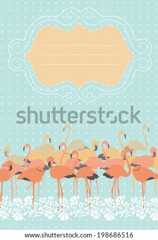 Pink Flamingos and Frame - stock vector