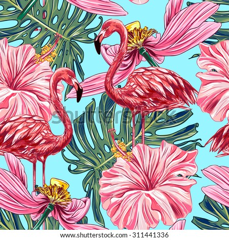 Pink flamingos, tropical flowers and jungle leaves, hibiscus, pink lotus. Beautiful seamless vector floral jungle pattern background, wallpaper - stock vector