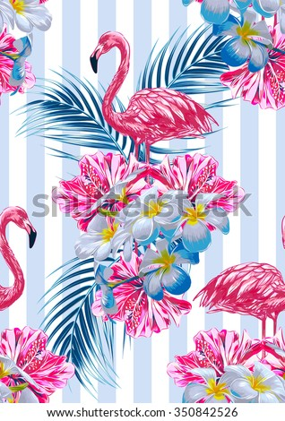 Pink flamingos, tropical flowers and palm leaves, hibiscus. Beautiful seamless vector floral jungle pattern background. Abstract striped geometric texture