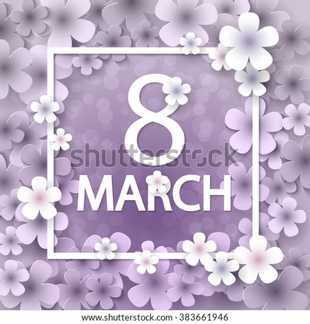Pink Floral Greeting card - International Happy Women's Day - 8 March holiday background with paper cut Frame Flowers. Trendy Design Template. Vector illustration. - stock vector