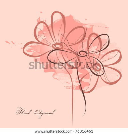 Pink floral painting - stock vector