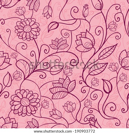 Pink floral seamless pattern - stock vector