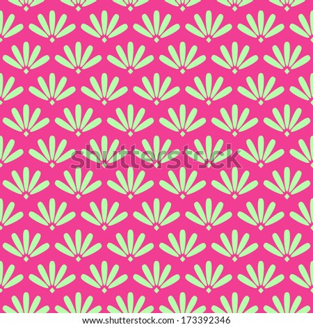 Pink Floral Stylized Simple Seamless Pattern. Vector Background - stock vector