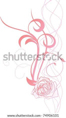 pink flourishes with rose - stock vector