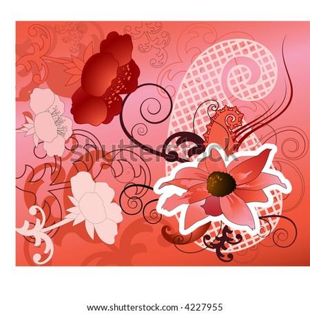 pink flower design vector - stock vector