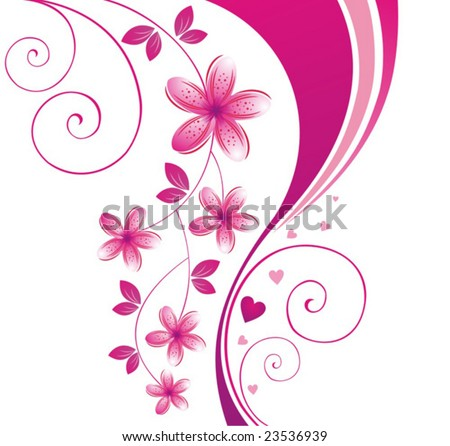 Pink flower. Floral background. To see similar, please visit MY PORTFOLIO. - stock vector