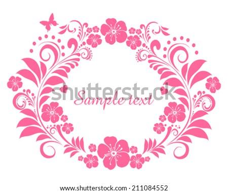Pink Flower frame isolated on White background. Element for design. Vector illustration  - stock vector