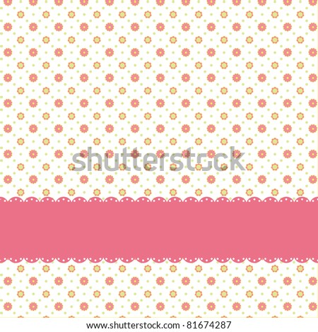 Pink flower polka dot seamless pattern with pink ribbon - stock vector