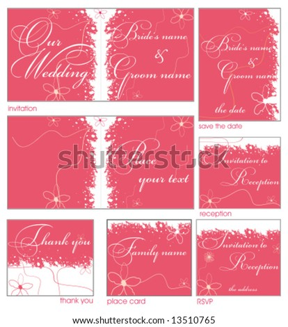 Pink flower reception card set 9. To see similar, please VISIT MY GALLERY.