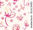 pink flower seamless pattern - stock photo