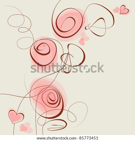 Pink flowers and hearts vector background - stock vector