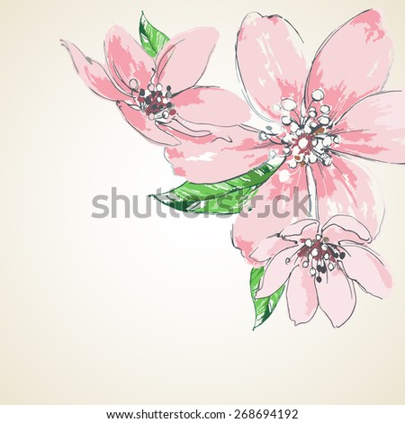 Pink flowers background, corner decoration - stock vector