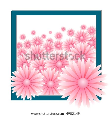 pink flowers composition - stock vector