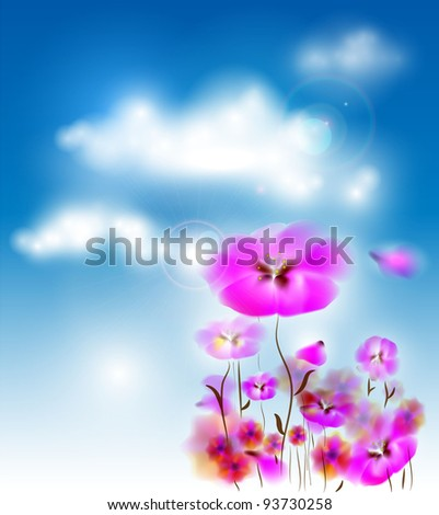 Pink Flowers On Cloudy Sky Background - stock vector