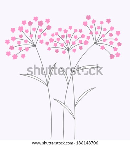 Pink flowers on long stems. Vector illustration - stock vector