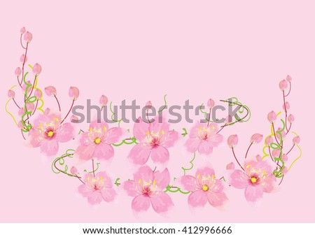 pink flowers on pink background,vector illustration