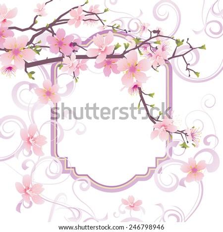pink flowers sakura blossom frame - stock vector