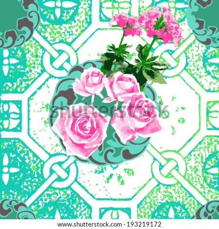 pink  flowers watercolor on green background?vector - stock vector