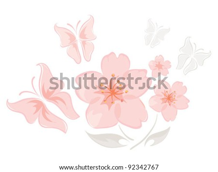 Pink flowers with butterflies
