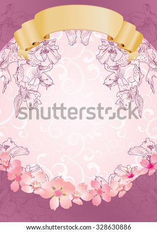 pink flowers yellow ribbon card - stock vector