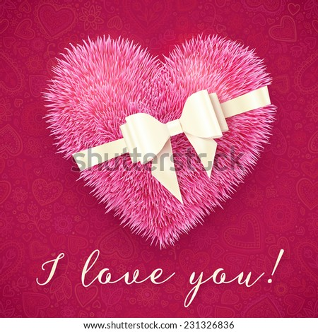 Pink fluffy heart with white bow, vector greeting card - stock vector