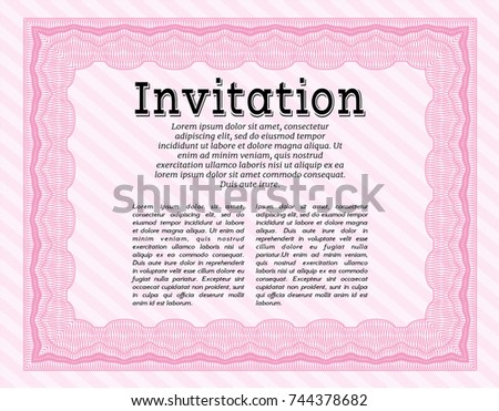 Pink formal invitation background beauty design stock vector pink formal invitation with background beauty design customizable easy to edit and stopboris Images