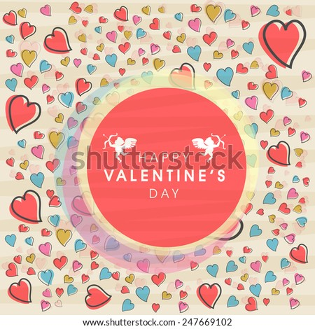 Pink frame with text Happy Valentines Day and  cupids on seamless hearts decorated background.  - stock vector