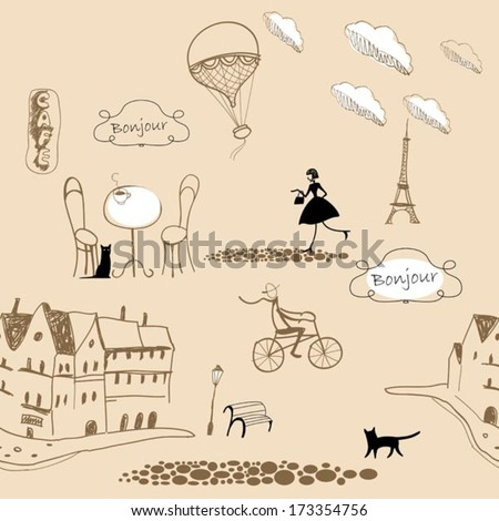 pink french pattern - stock vector