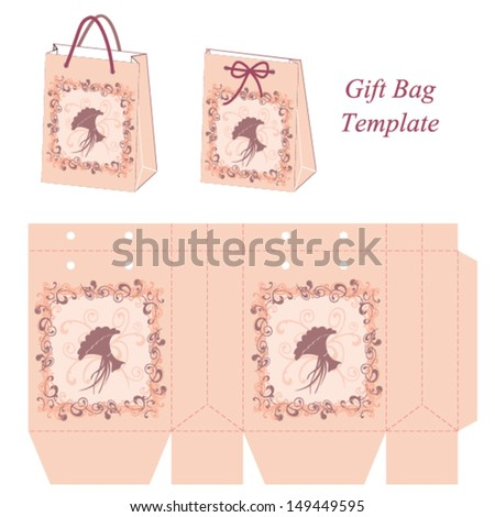 Pink Gift Bag Template Decorative Frame Stock Photo (Photo, Vector ...
