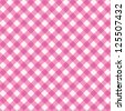 Pink gingham cloth background with fabric texture for Valentine's Day, wedding, baby girl, birthday and other designs. Seamless pattern included in swatch palette. For high res see image 125506841 - stock vector