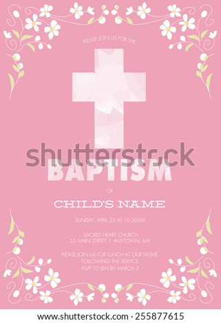 Pink girls baptism christening first communion confirmation pink girls baptismchristeningfirst communionconfirmation invitation with watercolor cross and floral stopboris Image collections