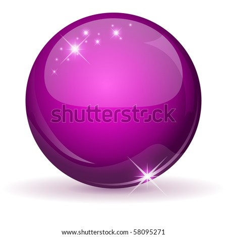 Pink glossy sphere isolated on white. - stock vector