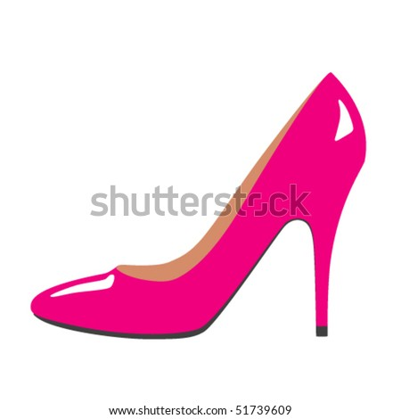 Pink glossy woman shoe isolate in white