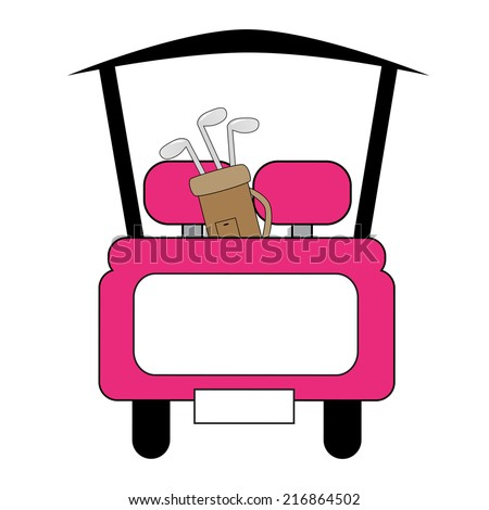 Pink Golf Cart - stock vector
