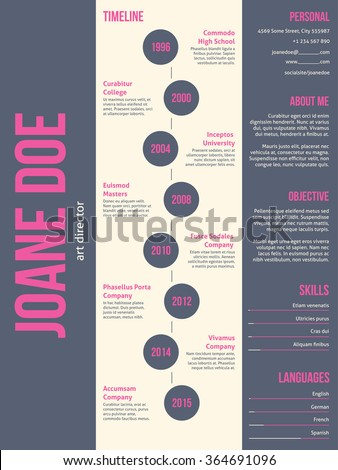 Pink gray modern resume cv curriculum vitae template design - stock vector