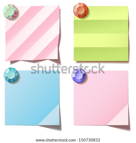 Pink, green and blue notes. Vector illustration