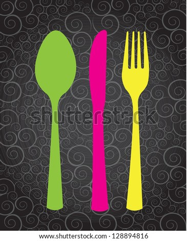 Pink,green and yellow cutlery over vintage background - stock vector