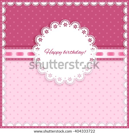 pink greeting card with bow, lace, place for your text on light and dark  background, vector illustration