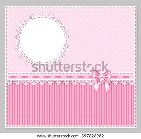 pink greeting card with bow, lace, place for your text on polka and strip background, vector illustration - stock vector