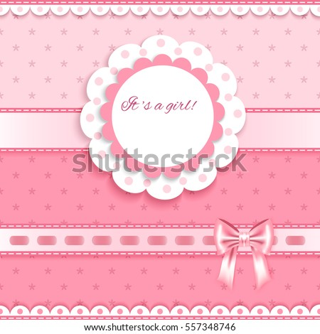 pink greeting card with  bows, lace, place for your text on pink  background with little flowers, vector illustration