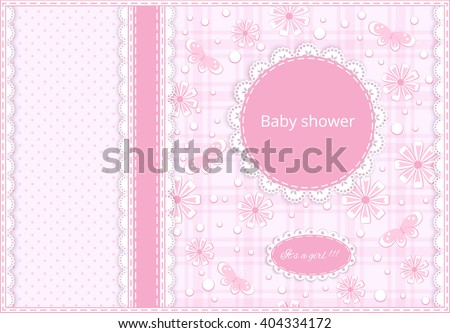 pink greeting card with ribbon, lace doily, place for your text, flower and butterfly on  background, vector illustration - stock vector